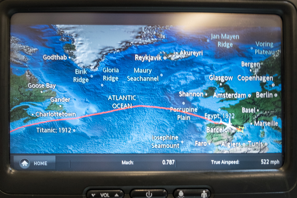 A view of the inflight GPS depicting that the eight hour flight is almost completed