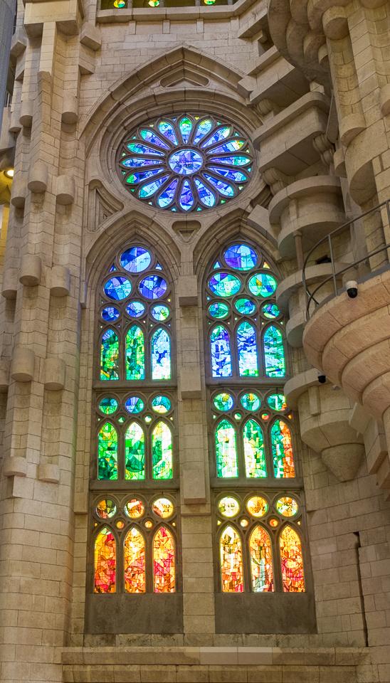 Stained glass windows inside the cathedral