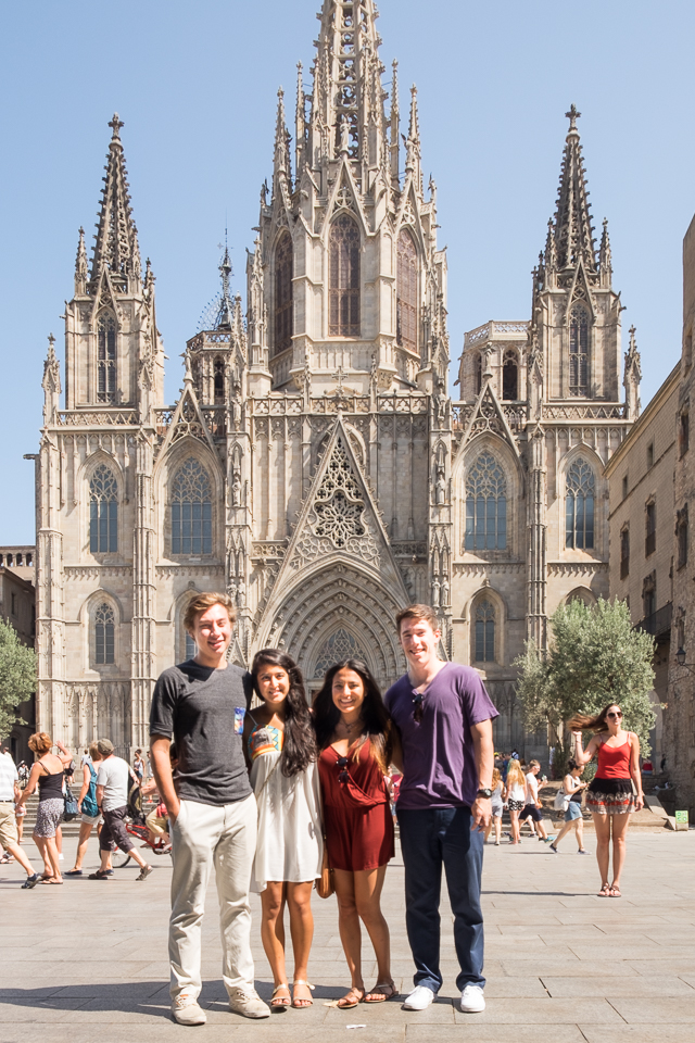 McKee, Ria, Miranda and Spencer at the Barcelona Cathedral