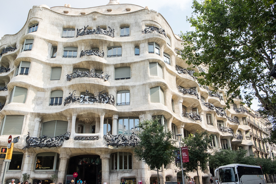Exterior view of La Pedrera designed by Antoni Gaudi