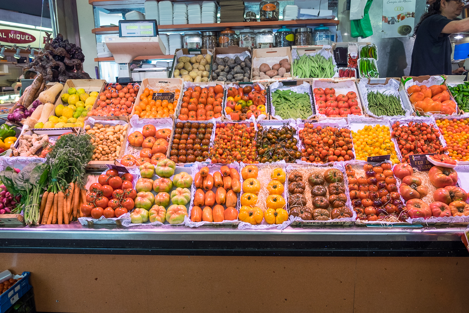 Plentiful fruits and vegetables at the market