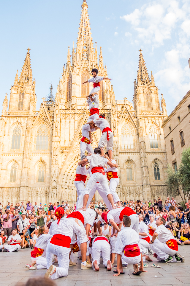 This photo and ones that follow are examples of the human figures that the groups build.  And, yes, the kids on the top are around 3 years old and climb to the top by themselves.