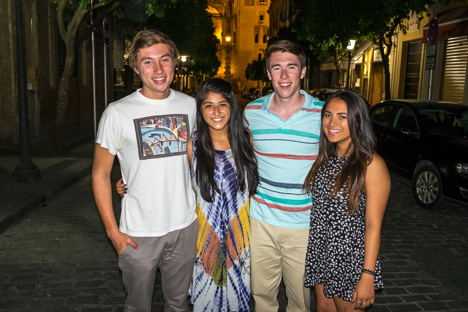 McKee, Ria, Spencer and Miranda on our last night in Seville