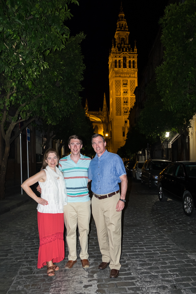 Keena and I with Spencer on our last night in Seville. Giralda Tower in the background