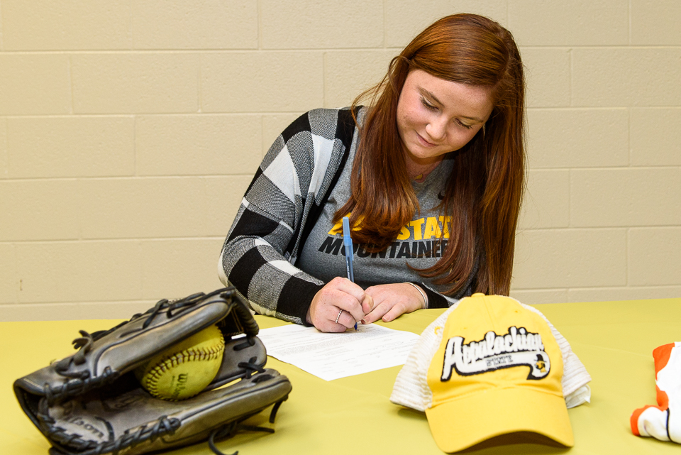 Carson Pace signs her National Letter of Intent of play softball at Appalachian State University in Boone, NC
